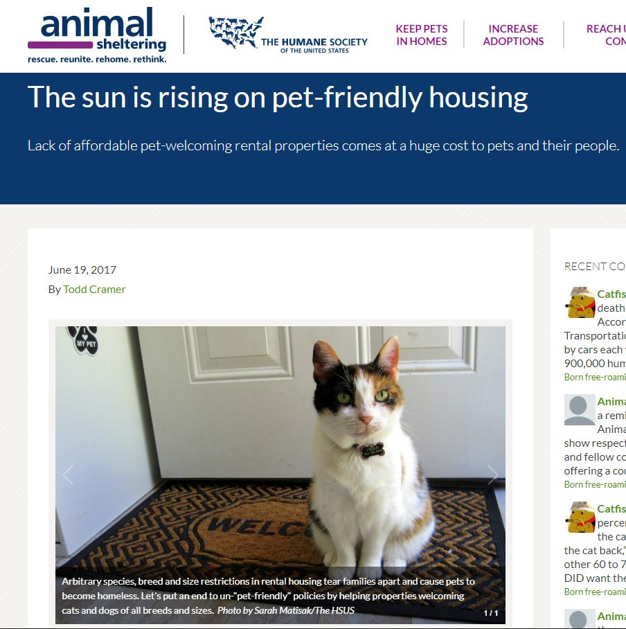 Van Allen Apartments in Animal Sheltering magazine