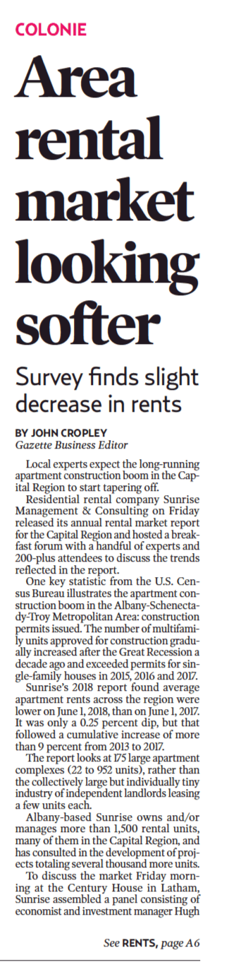 Sunrise Management & Consulting Multifamily Summit in the Daily Gazette